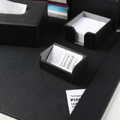 PINDI Black cross pattern ten piece office suite (including taipan pad, file holder, pen holder, business card holder and tissue box)