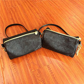 Black PU material cosmetic bag
