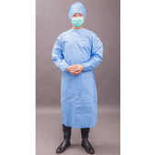 Disposable Blue SMS Isolation Gown with Knitting Cuffs