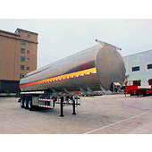 Three-axle liquid tank transport semitrailer