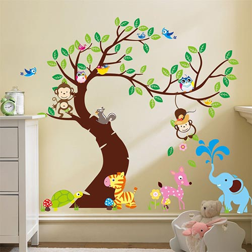 Realistic Jungle Animal Wall Art Decals for Kids Bedroom CZKL08